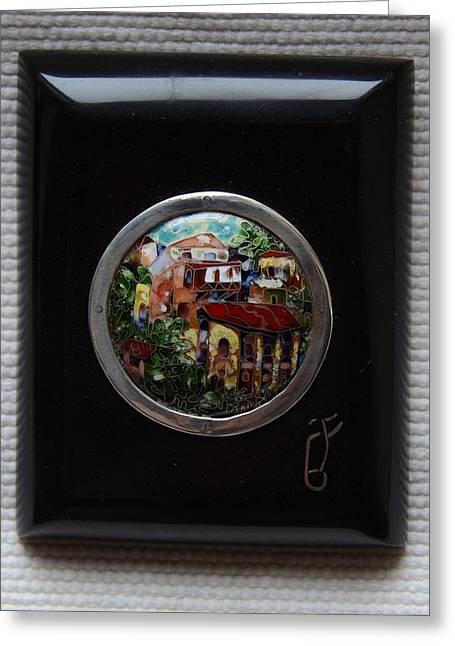 Old Glass Art Greeting Cards - Cloisonne Enamel Fine Miniature Paysage in Ebonite Frame Greeting Card by Nino Berdzenishvili
