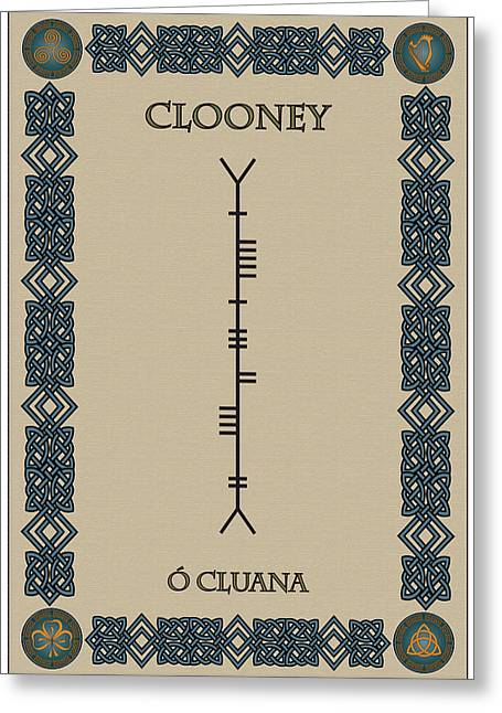 Clooney Greeting Cards - Clooney written in Ogham Greeting Card by Ireland Calling