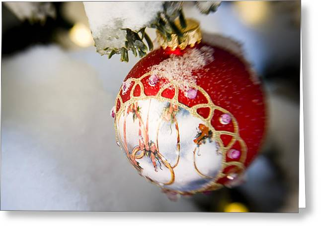 Snowy Day Greeting Cards - Close Up Of A Christmas Ornament Greeting Card by Kevin Smith