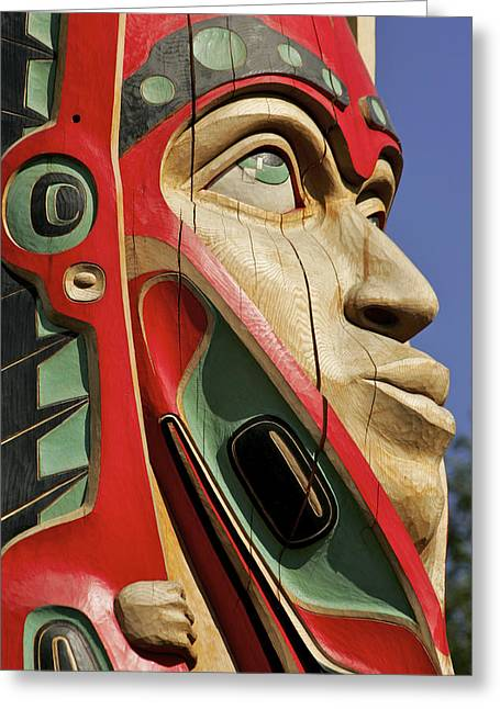 Wooden Sculpture Greeting Cards - Close Up Of A Face On A Traditional Greeting Card by Clark Mishler