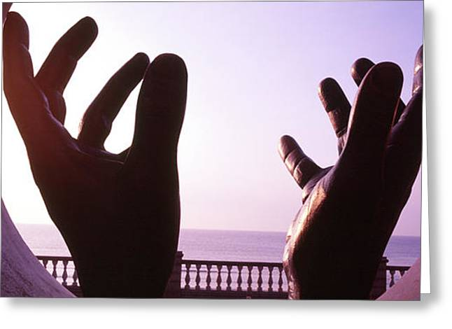 Close-up Of A Hand Sculpture, Sitges Greeting Card by Panoramic Images