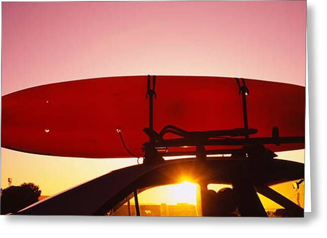 Boats On Water Greeting Cards - Close-up Of A Kayak On A Car Roof Greeting Card by Panoramic Images