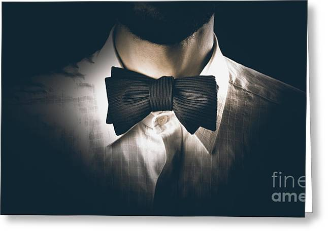 Neck Tie Greeting Cards - Close-up of a model man wearing bow tie Greeting Card by Ryan Jorgensen