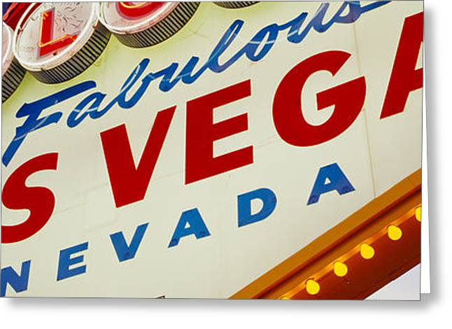 Close-up Of A Welcome Sign, Las Vegas Greeting Card by Panoramic Images