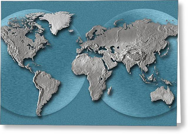 Planet Earth Photographs Greeting Cards - Close-up Of A World Map Greeting Card by Panoramic Images