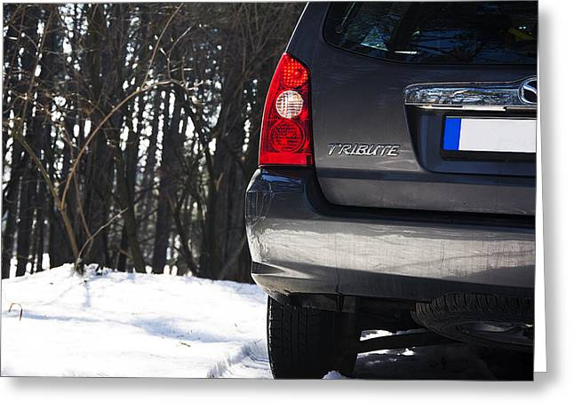 Teruel Greeting Cards - Close up of back side of Mazda Tribute in the mountain forest Greeting Card by Newnow Photography By Vera Cepic