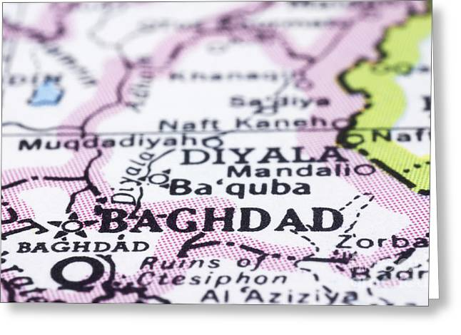 Baghdad Greeting Cards - close up of Baghdad on map-Iraq Greeting Card by Tuimages