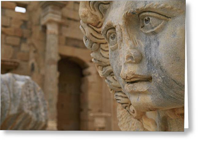 Archaeology Sculpture Greeting Cards - Close-up Of Statues In An Old Ruined Greeting Card by Panoramic Images