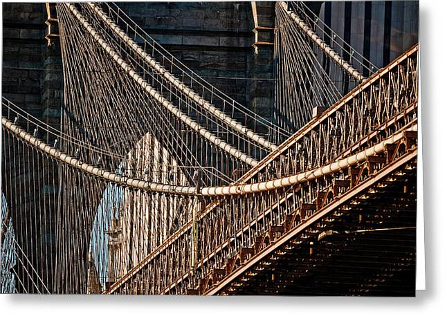 Modernism Photographs Greeting Cards - Close-up Of The Brooklyn Bridge, New Greeting Card by Panoramic Images