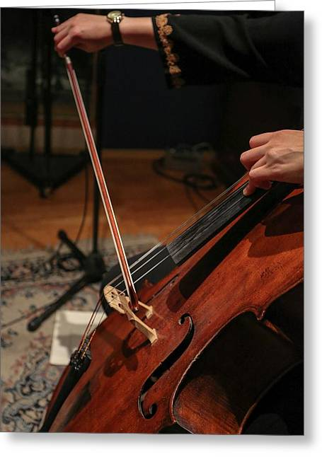 Close Up Of The Cellist's Hands Greeting Card by Photostock-israel