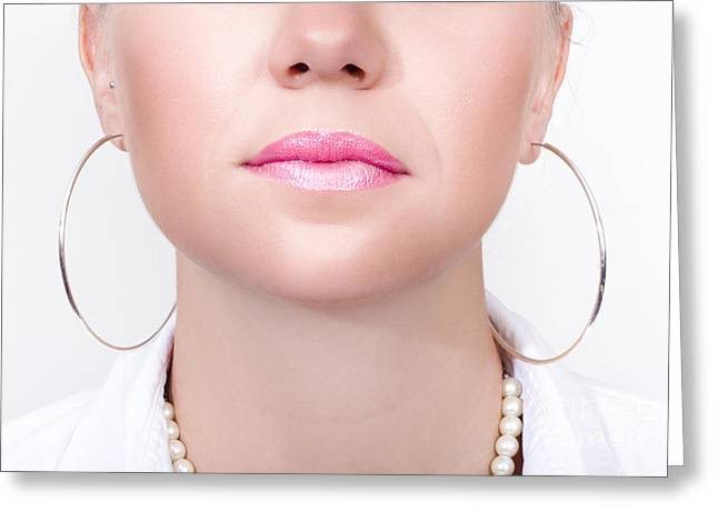 Gold Earrings Greeting Cards - Closeup Beauty Photo Of Shiny Pink Lipstick Greeting Card by Ryan Jorgensen