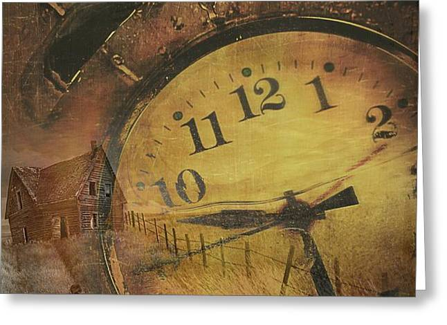Closeup of old clock frozen in ice Greeting Card by Sandra Cunningham