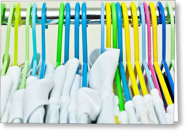 Clothes hangers Greeting Card by Tom Gowanlock