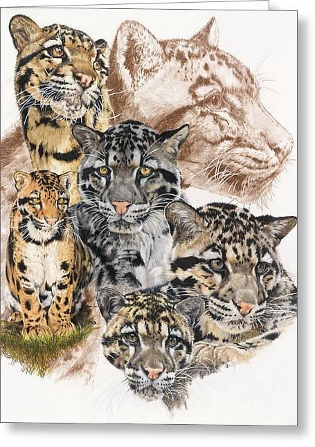 Wildcats Mixed Media Greeting Cards - Cloudburst Greeting Card by Barbara Keith