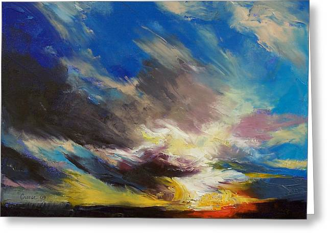 Cloudburst Greeting Card by Michael Creese