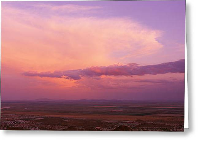Thunderstorm Greeting Cards - Clouds Over A Landscape At Sunset Greeting Card by Panoramic Images