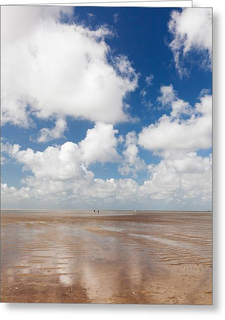 Clouds Over Beach, Wadden Sea National Greeting Card by Panoramic Images