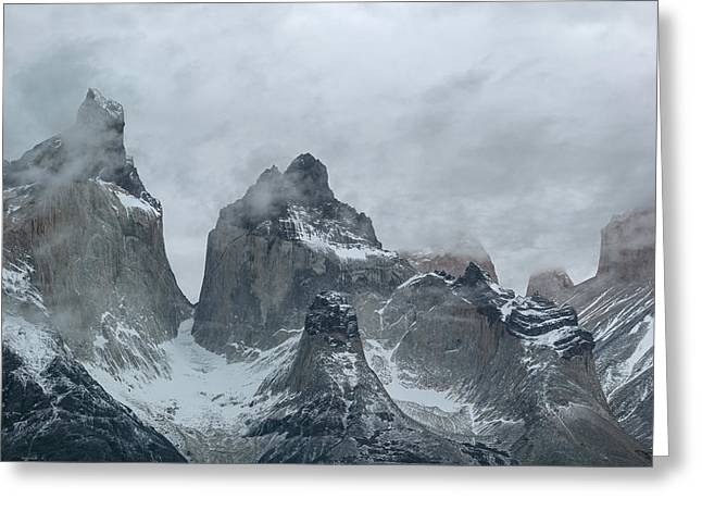 Clouds Over Snowcapped Mountains Greeting Card by Panoramic Images