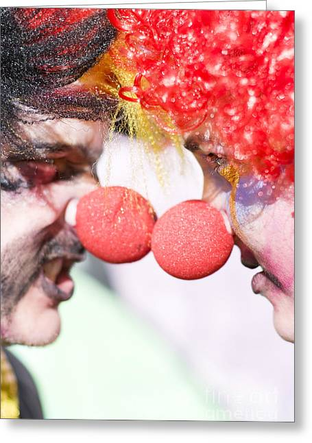 Comedian Greeting Cards - Clowns Face Off Greeting Card by Ryan Jorgensen