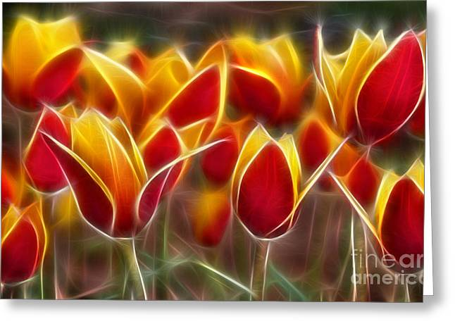 Subtle Colors Greeting Cards - Cluisiana Tulips Fractal Greeting Card by Peter Piatt