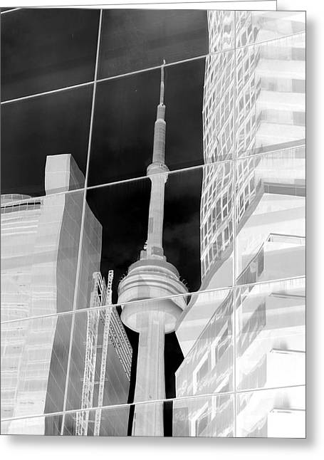 Glass Reflecting Greeting Cards - CN Tower Reflected Greeting Card by Valentino Visentini