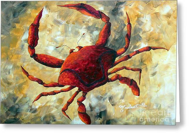 Shell Pattern Greeting Cards - Coastal Crab Decorative Painting Original Art Coastal Luxe CRAB By Madart Greeting Card by Megan Duncanson