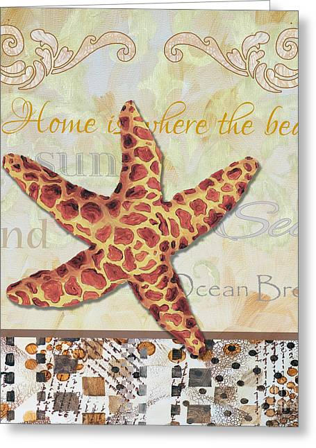 Surface Layer Greeting Cards - Coastal Decorative Starfish Painting Decorative Art By Megan Duncanson Greeting Card by Megan Duncanson