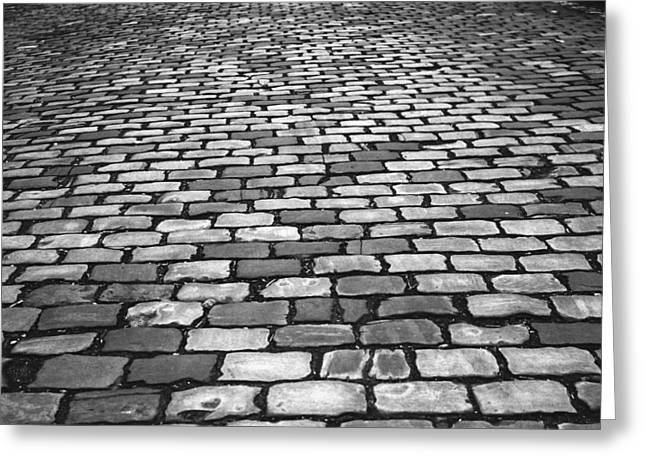 Cobblestone Road Greeting Card by Mountain Dreams