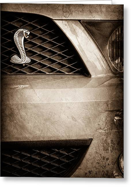 Cobra Photographs Greeting Cards - Cobra Grille Emblem Greeting Card by Jill Reger