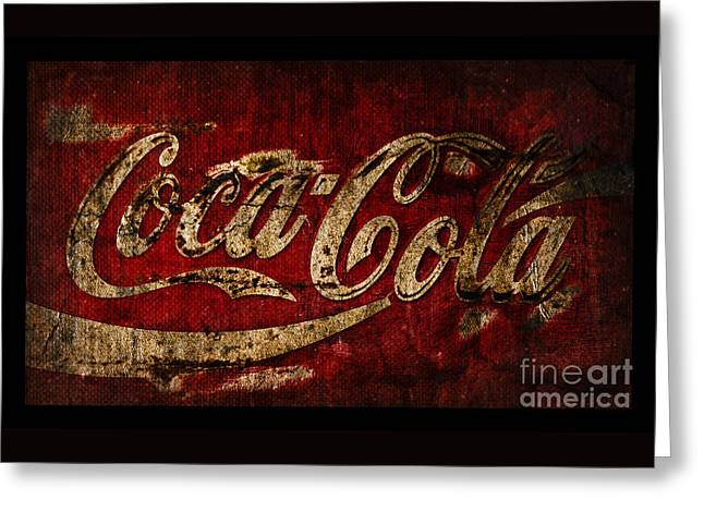 Rustic Coca Cola Sign Greeting Card by John Stephens
