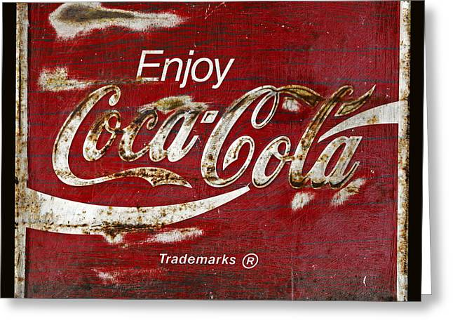 Vintage Coca Cola Sign Greeting Cards - Coca Cola Grunge Sign Greeting Card by John Stephens