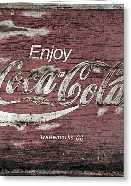 Closeup Coca Cola Sign Greeting Cards - Coca Cola Pink Grunge Sign Greeting Card by John Stephens