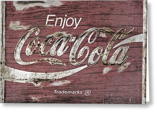 Coca Cola Pink Grunge Sign Greeting Card by John Stephens