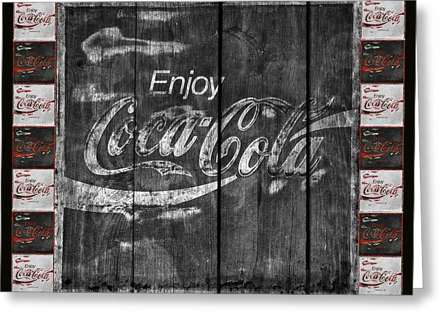 Closeup Coke Sign Greeting Cards - Coca Cola Sign With Little Cokes Border Greeting Card by John Stephens