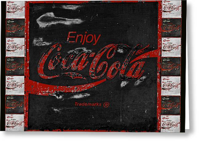 Closeup Coca Cola Sign Greeting Cards - Coca Cola Signs Greeting Card by John Stephens