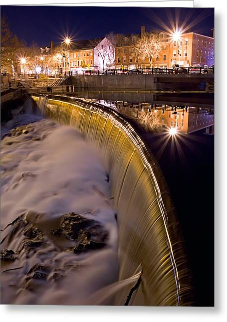 Long Street Greeting Cards - Cocheco River Falls Dover NH Greeting Card by Jeff Sinon