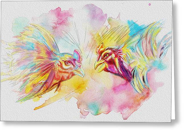 Cock fighting Greeting Card by Catf