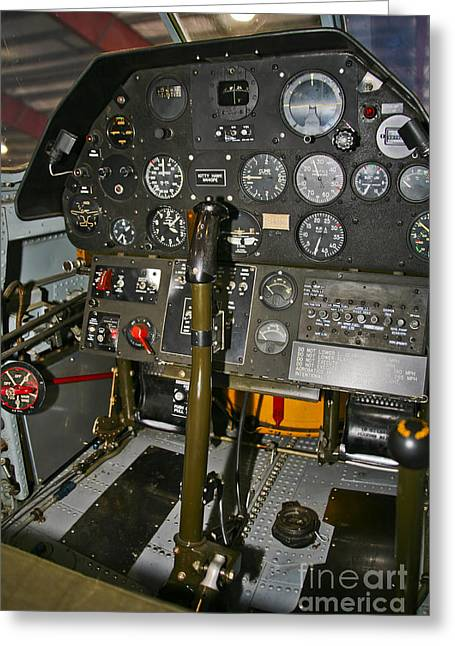 Throttle Greeting Cards - Cockpit Of A P-40e Warhawk Greeting Card by Scott Germain