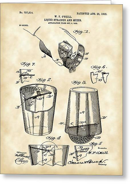 Strainer Greeting Cards - Cocktail Mixer and Strainer Patent 1902 - Vintage Greeting Card by Stephen Younts