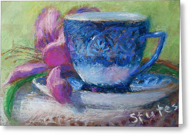 Spring Pastels Greeting Cards - Coffee And Flowers Greeting Card by Nancy Stutes