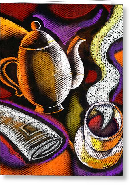 Steaming Greeting Cards - Coffee and News Greeting Card by Leon Zernitsky