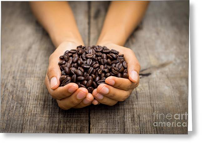 Pause Greeting Cards - Coffee beans Greeting Card by Aged Pixel