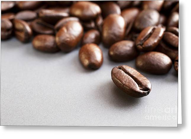 Ceramic Greeting Cards - Coffee Beans on Grey Ceramic Surface Greeting Card by Colin and Linda McKie
