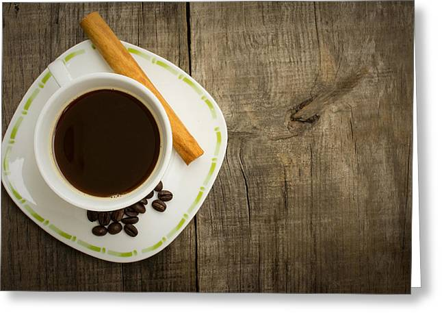 Spice Greeting Cards - Coffee Cup with beans and cinnamon stick Greeting Card by Aged Pixel