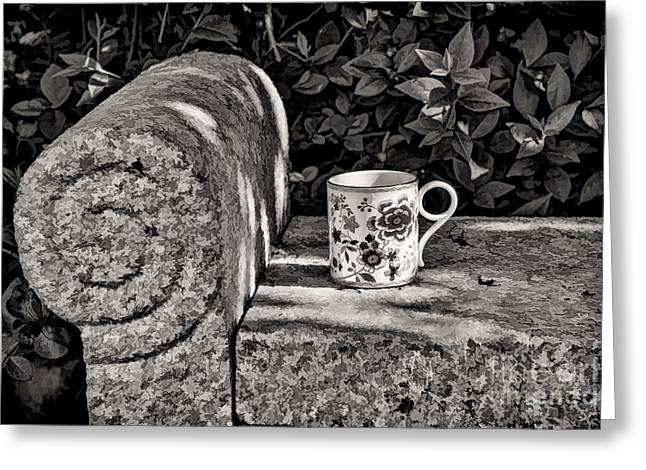 Pause Greeting Cards - Coffee in garden Greeting Card by Gry Thunes