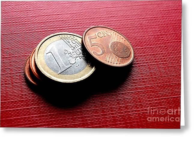 Coins Euro Greeting Card by Michal Bednarek