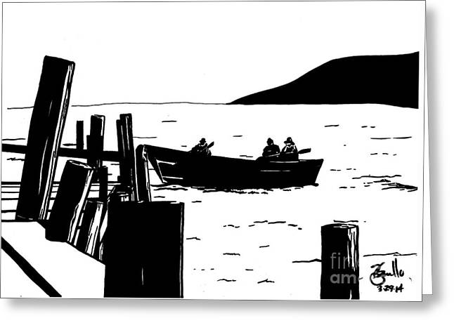 Maine Coast Drawings Greeting Cards - Cold Morning Greeting Card by Andooga Design