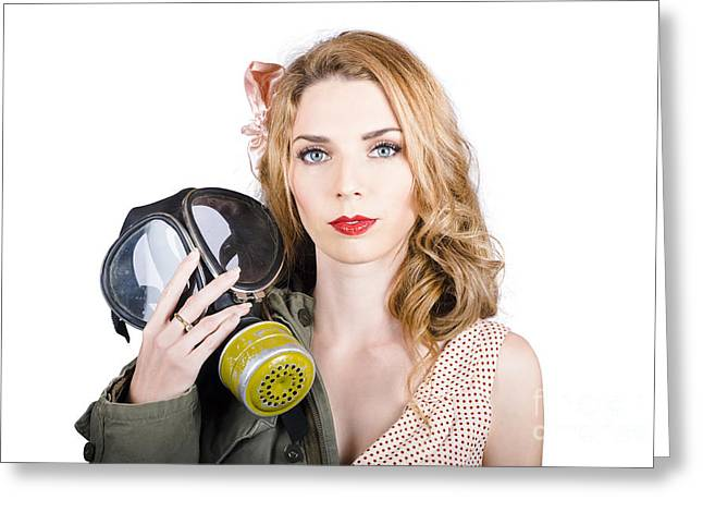 Cold War Pin-up Woman With Gasmask Greeting Card by Jorgo Photography - Wall Art Gallery