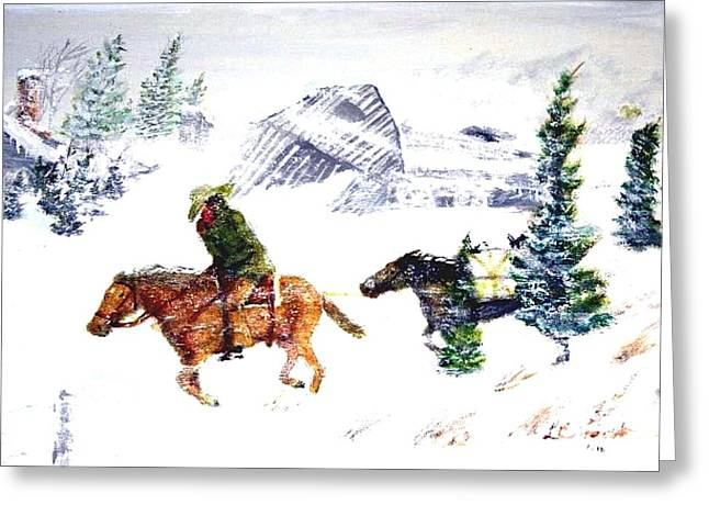 Cowboy Art Collector Greeting Cards - Cold wind. Greeting Card by Larry Lamb