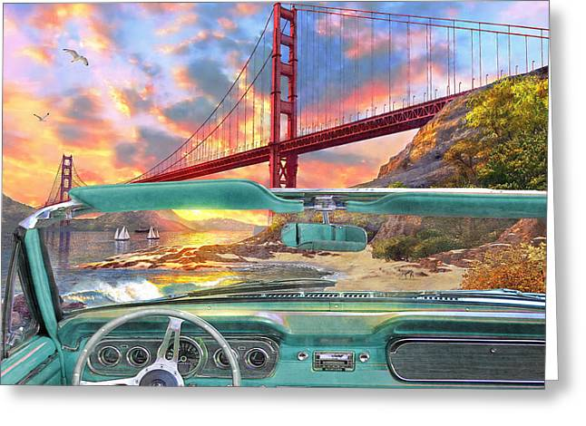 Golden Gate Greeting Cards - Colden Gate from a Car Greeting Card by Dominic Davison